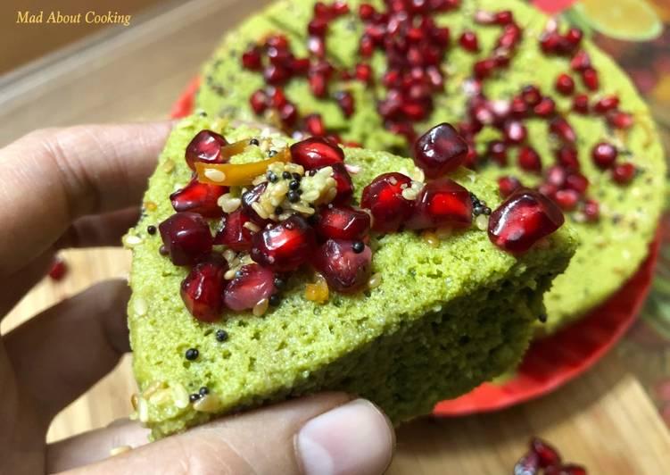 Step-by-Step Guide to Prepare Homemade Palak Besan Ka Dhokla (Steamed Spinach Gramflour Savory Cake) – Winter Breakfast Special