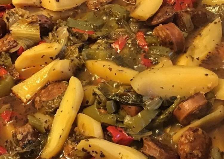Recettes Pommes de terre poivrons et chou kale au chorizo