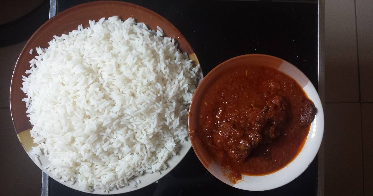 White rice and stew Recipe by Enefola Joy Owoicho - Cookpad