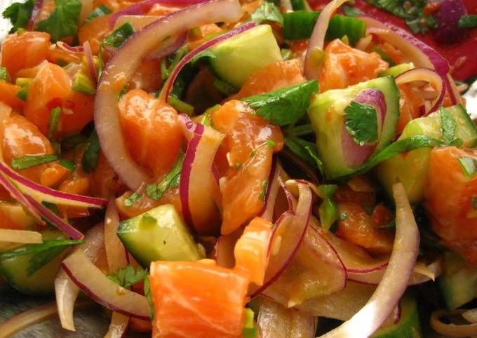 Spicy Salmon Poke with Crunchy Cucumber