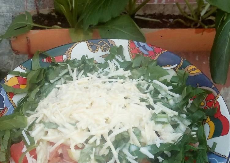 Salad sawi + pepaya + ketimun