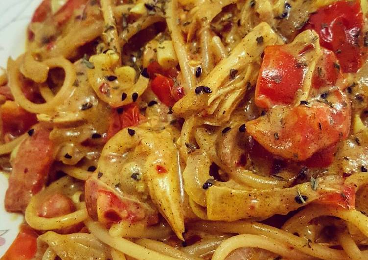 Recipe of Super Quick Homemade Buttered Chicken Curry Spaghetti