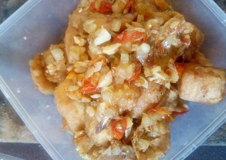Tahu + udang crispy cabe garam