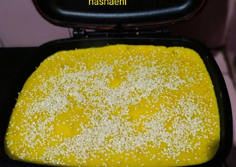 Kue lumpur labu kuning dengan double pan