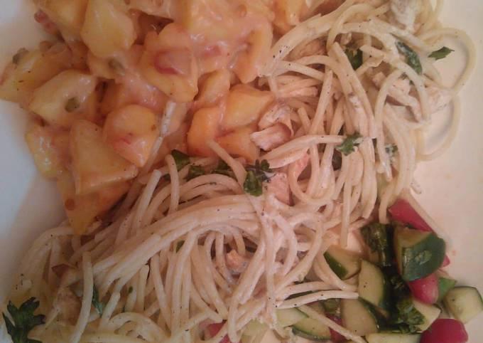Potato salad with spaghetti #cookpadramadan #RamadanSpecial