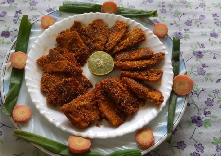 Crispy Yam fritters suranche chaap veg crispy Yam fish fry
