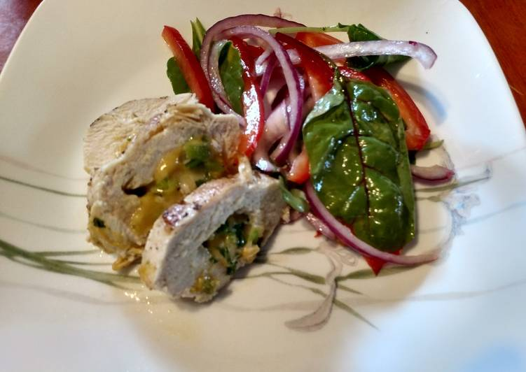 How to Cook Appetizing Stuffed Chicken Breasts with salad