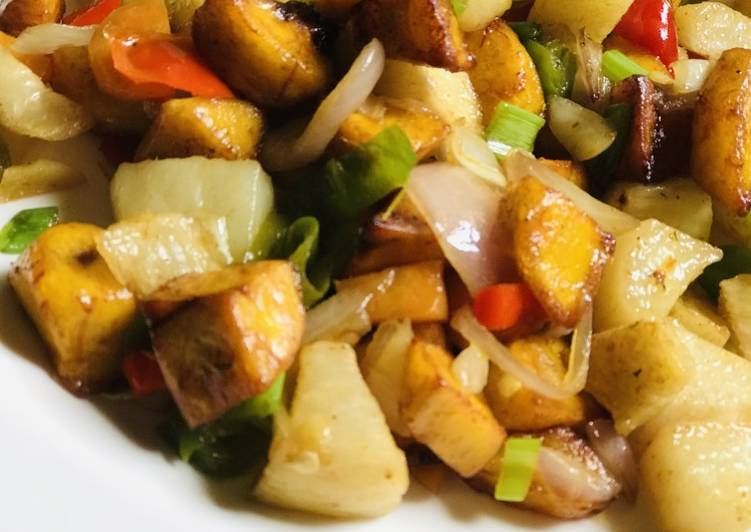 Yam and plantain stirfry