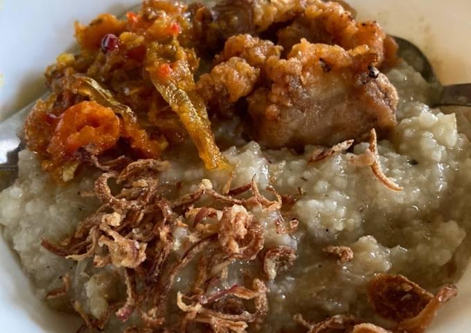 Bubur nasi rebusan daging Sambal bilis udang kering