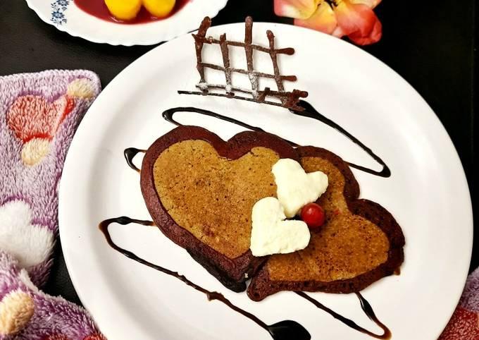 Oatmeal Pancake with Fresh Cream and Beetroot Eggless