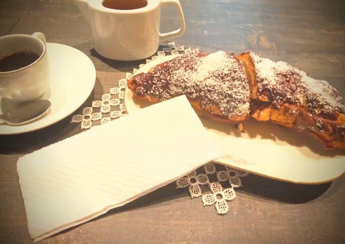 Croissant gigante con Nutella e cocco
