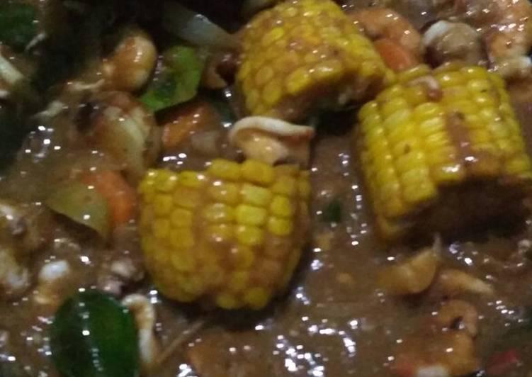 Udang cumi saus Padang ala anak kos