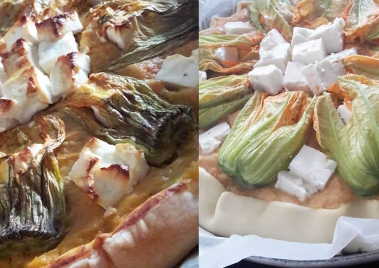 Tarte patate douce feta et fleurs de courgette