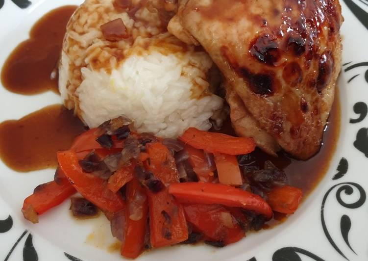 Steps to Make Perfect Chicken thigh with lemon hinted jasmine rice