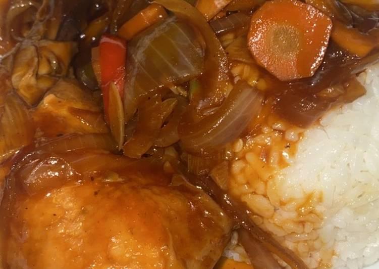 Ayam goreng mentega (saus pedas manis)