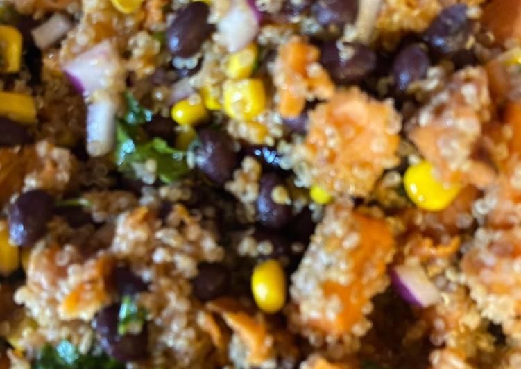 Roasted Sweet Potato, Black Bean and Quinoa Salad