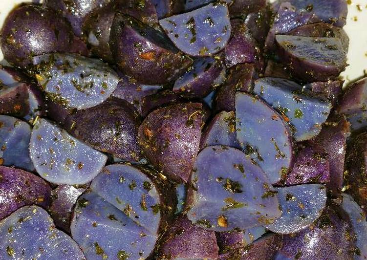 Purple Potatoes with Garlic, Herbs, and Parsley
