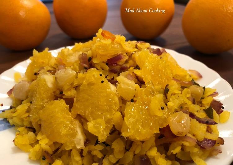 Orangey Poha – Vitamin C Rich Breakfast Recipe – Poha With A Twist