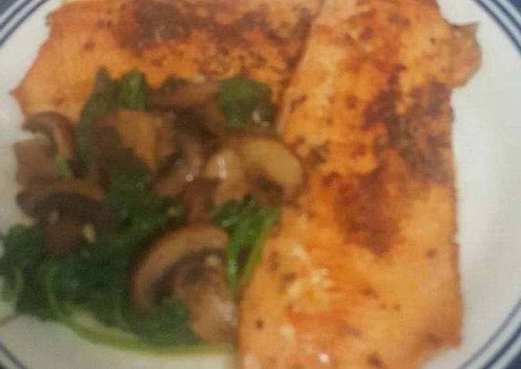 Having This 15 Superfoods Is A Superb Way For Better Health, Saute trout/ baby spinach and baby Bella mushrooms