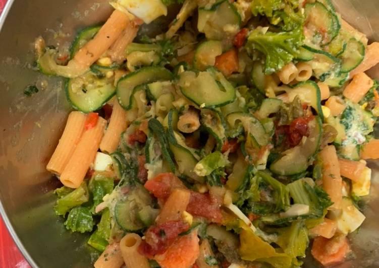 Pasta de lentejas con verduras
