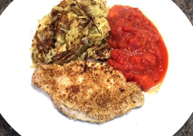 How to Prepare Any-night-of-the-week Pork Snitzel with Pan Fried Rosti & Tomato