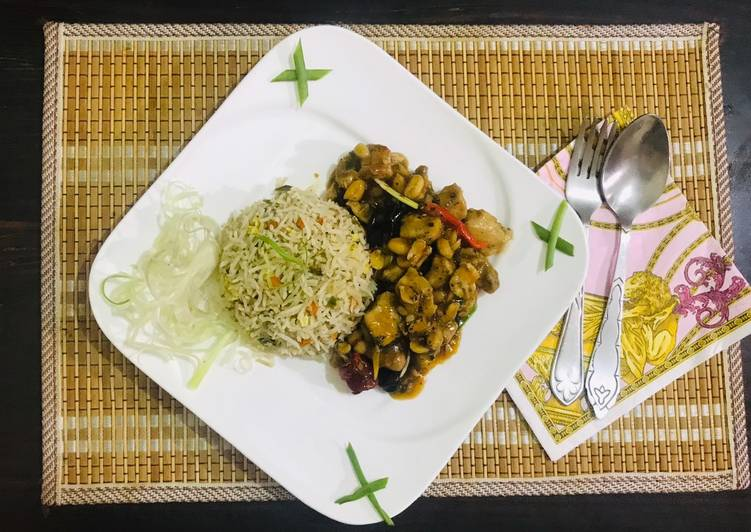 Kung pao chicken with egg fried rice