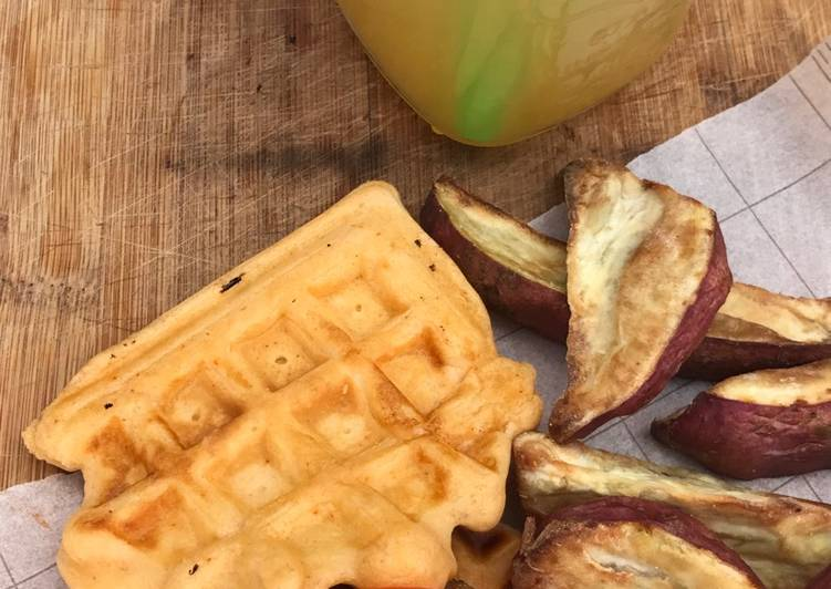 Steps to Prepare Ultimate Lemon and paprika Sweet potato wedges with waffles