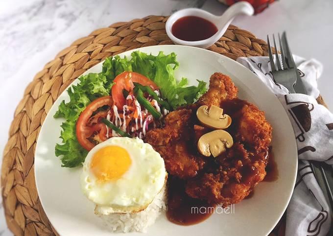 Nasi Putih Chicken Chop: dengan sos cendawan