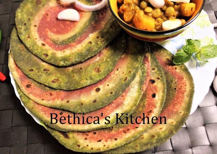 Recipe of Award-winning Ramadan Special - Spinach & Beetroot Pin Wheel Paratha