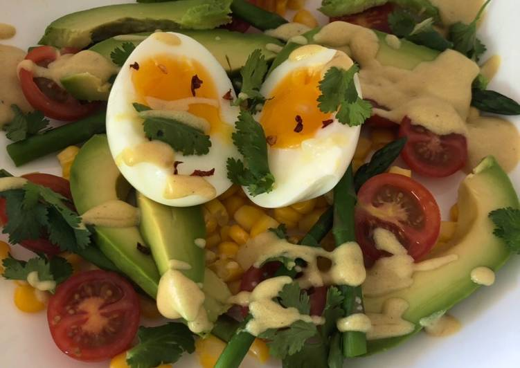 Asparagus, sweet corn, avocado and soft boiled egg salad