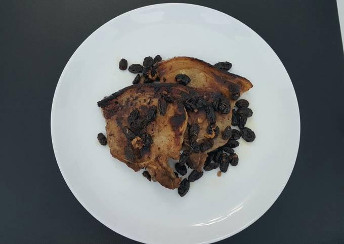 Pan Roasted Pork Chops with Toasted Raisins