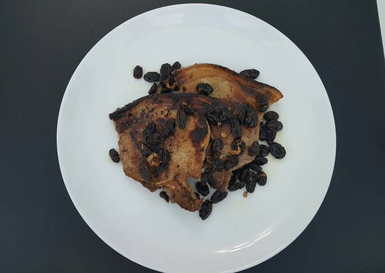 Pan Roasted Pork Chops with Toasted Raisins