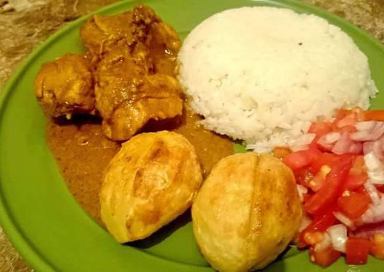 Rice, Beef and Roasted potatoes