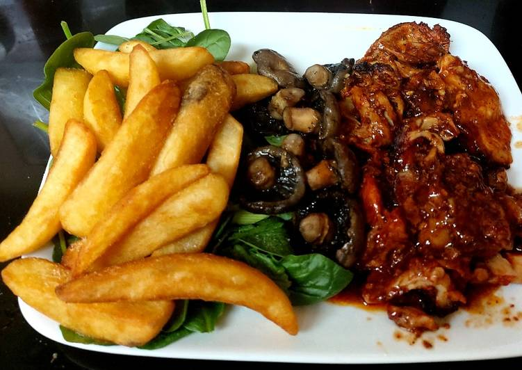 My Peri Peri Chicken with Mushrooms and Big Chips + Spinach