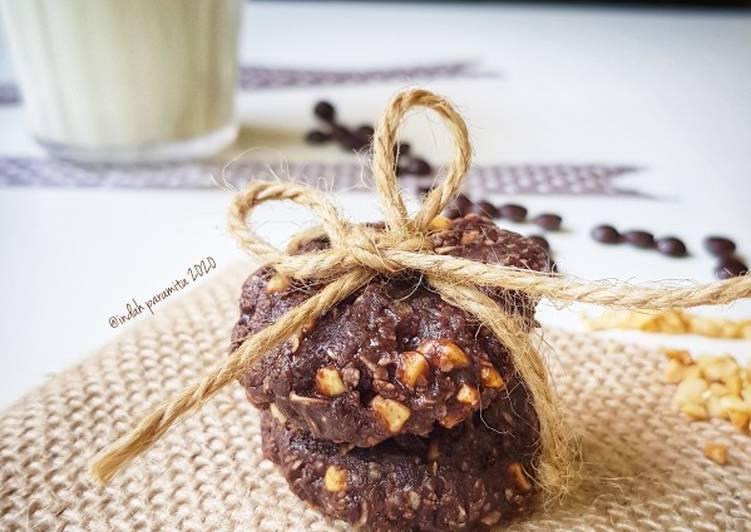 Cookies coklat tanpa oven tanpa teflon (4 bahan)