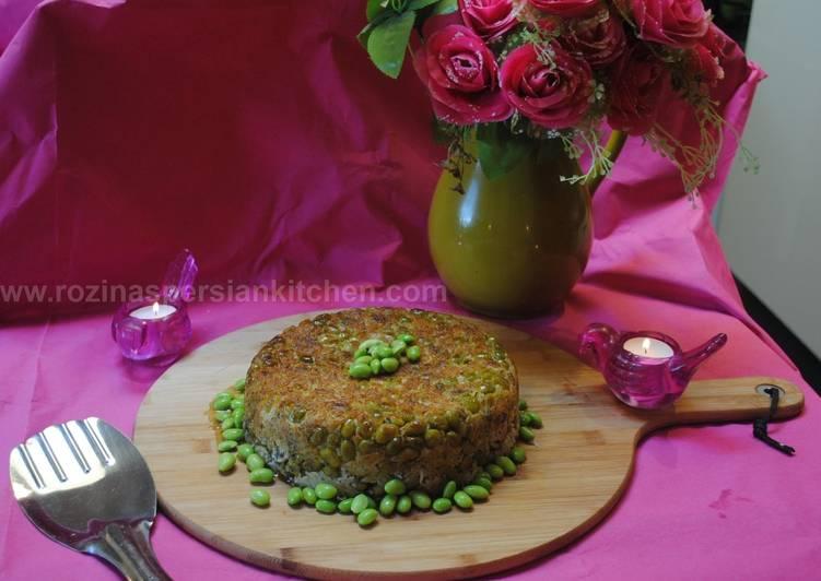 Persian dill & broad beans rice cake ته چین شوید باقالی