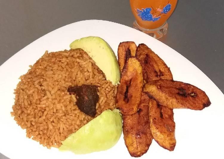 Jollof Rice and Fried beef