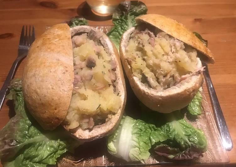 Duo de pommes de terre en croûte de sel aux 2 poissons