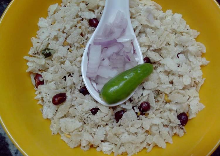 Fried poha chiwda(flattened rice) - Laurie G Edwards