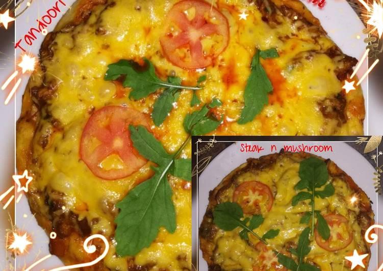 How to Prepare Quick Tandoori chicken pizza 🍕and steak and mushroom pizza 🍕