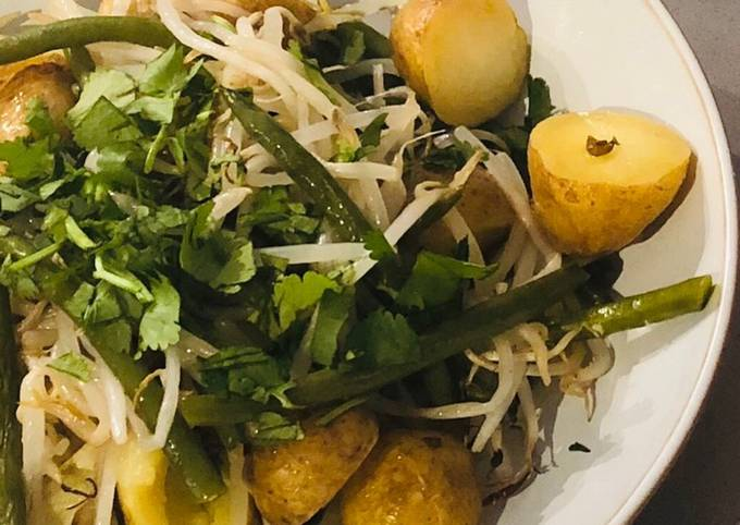 Charlotte potato, green bean and bean sprout tray bake with peanut, coconut and chilli dressing