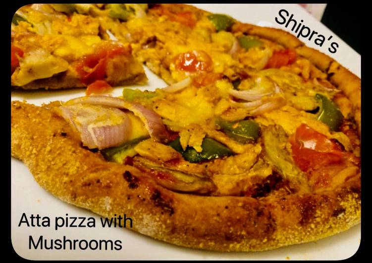 Recipe of Super Quick Homemade Atta Pizza with Mushrooms (no yeast)