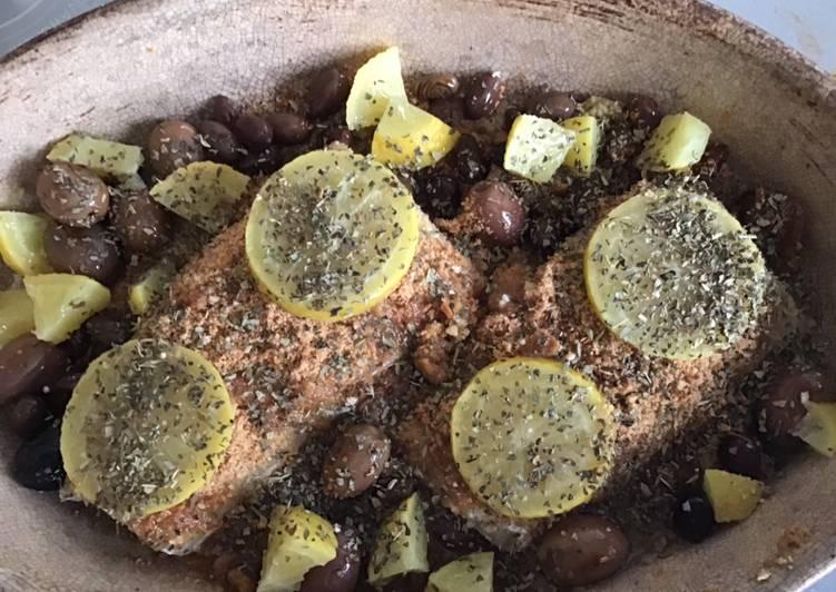 Pavés de cabillaud aux olives sauce cacahuète et citron confit