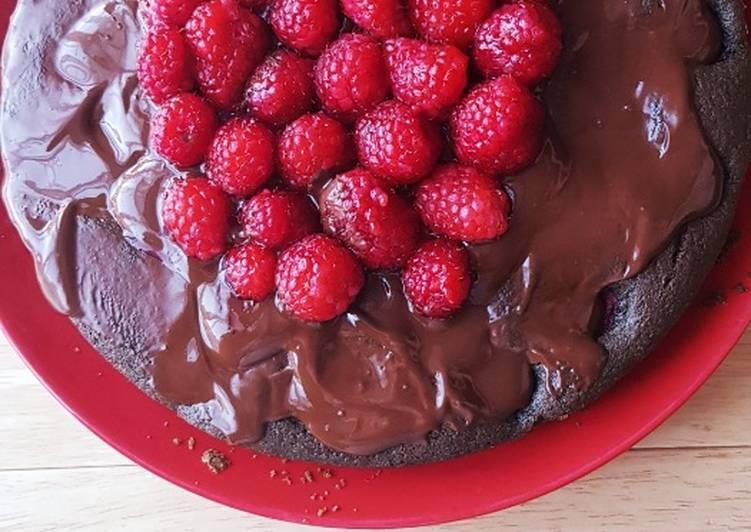 Gâteau chocolat framboise et spirulina