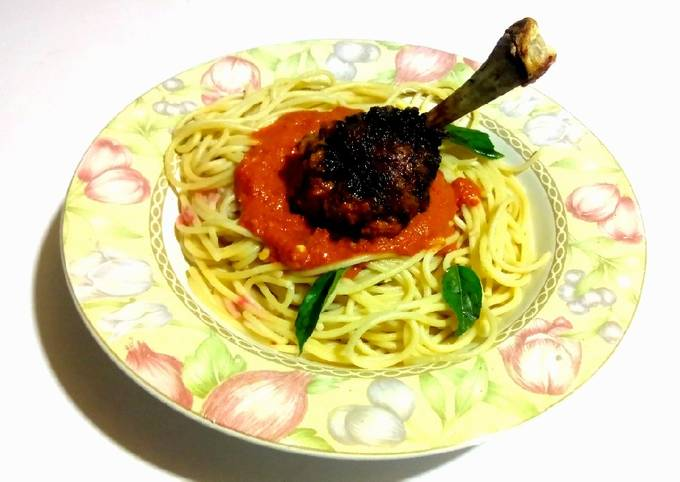 Frenched Drumstick with Spaghetti Hot sauce