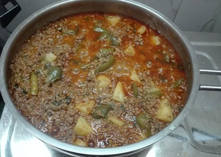 Grandmother's Dinner Ideas Special Kheema Aaloo Shimla Mirch