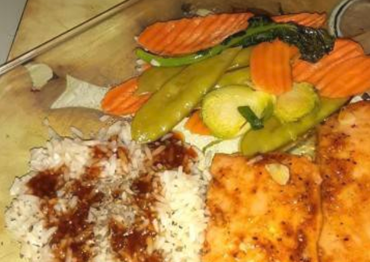 Steamed salmon,rice, vegetables w/ cherryaki sauce