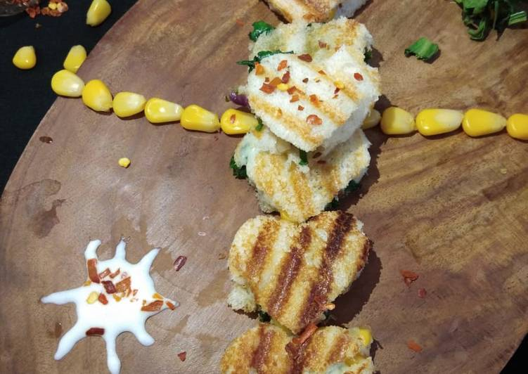 Cheese corn Palak sandwich