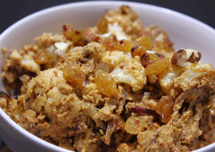 Veg:Baked Cauliflower and Golden Raisins with Almond-Yogurt Sauce