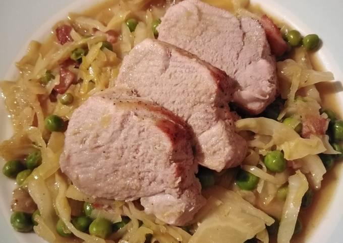 Vickys Roast Pork Fillet w Cabbage, Peas & Bacon, GF DF EF SF NF